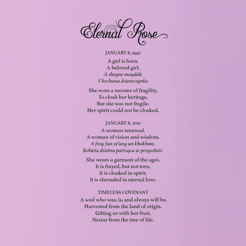 """""""Eternal Rose"""" -- Mitchell's poem to honor his mother, Lucia, on her 81st birthday."""